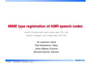 MIME type registration of AMR speech codec
