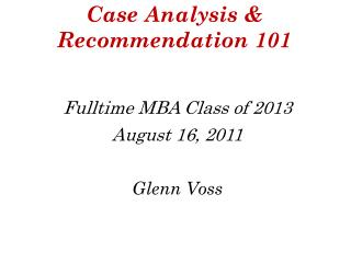 Case Analysis  Recommendation 101