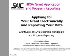 HRSA Grant Application and Program Reporting