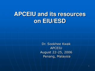 APCEIU and its resources on EIU/ESD