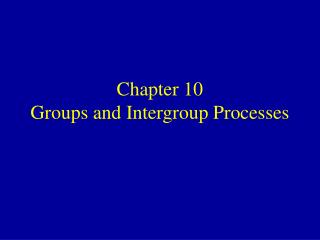 Chapter 10 Groups and Intergroup Processes