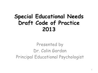 Special Educational Needs Draft Code of Practice 2013
