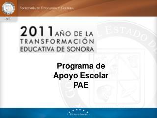 Programa de Apoyo Escolar PAE