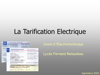 La Tarification Electrique
