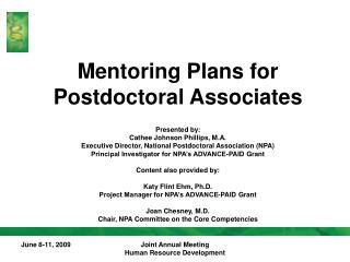 Mentoring Plans for Postdoctoral Associates