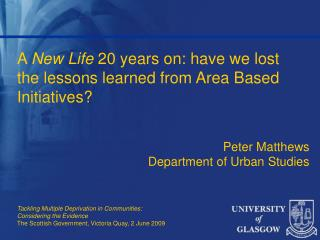 A  New Life  20 years on: have we lost the lessons learned from Area Based Initiatives?