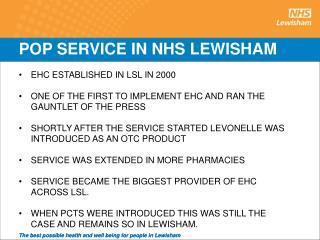 POP SERVICE IN NHS LEWISHAM