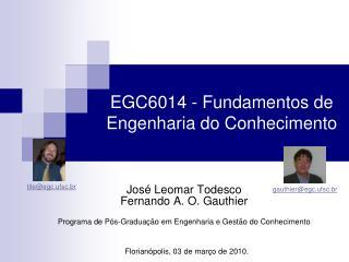 EGC6014 - Fundamentos de Engenharia do Conhecimento