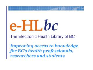 The Electronic Health Library of BC