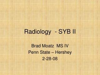 Radiology  - SYB II