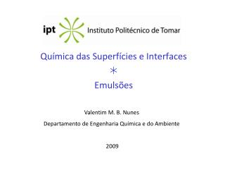 Química das Superfícies e Interfaces   Emulsões
