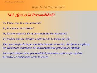 14.1 ¿Qué es la Personalidad?