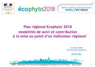 Plan régional Ecophyto 2018