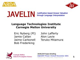 Language Technologies Institute Carnegie Mellon University