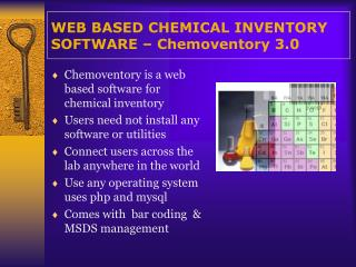 WEB BASED CHEMICAL INVENTORY   SOFTWARE   Chemoventory 3.0
