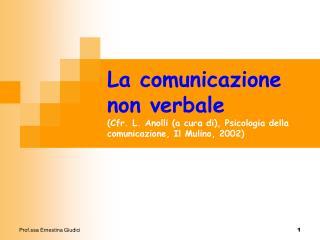 Insieme eterogeneo di fenomeni e processi comunicativi della comunicazione non verbale (CNV):