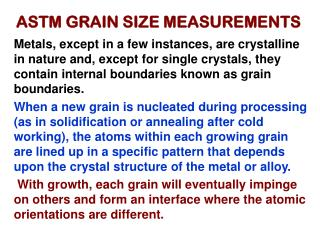 ASTM GRAIN SIZE MEASUREMENTS