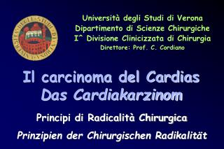 Università degli Studi di Verona Dipartimento di Scienze Chirurgiche
