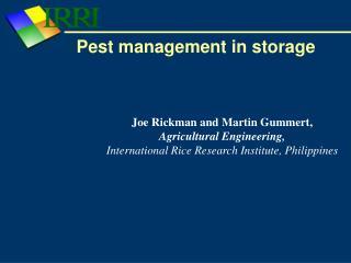 Pest management in storage