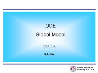 Plasma Application Modeling, POSTECH