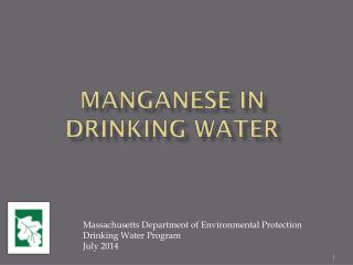 Manganese in Drinking Water