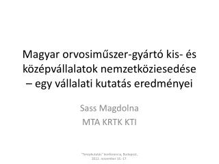 Sass Magdolna MTA KRTK KTI