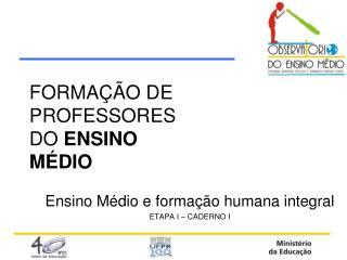 FORMA ÇÃO DE PROFESSORES  DO  ENSINO  MÉDIO