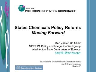 States Chemicals Policy Reform:  Moving Forward