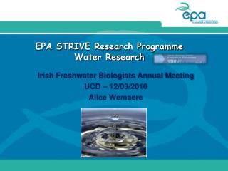 EPA STRIVE Research Programme Water Research