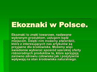 Ekoznaki w Polsce.