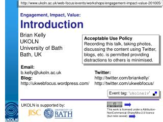 Engagement, Impact, Value: Introduction