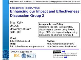 Engagement, Impact, Value: Enhancing our Impact and Effectiveness Discussion Group 2