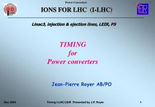 IONS FOR LHC  (I-LHC)