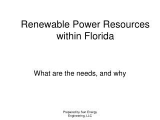Renewable Power Resources within Florida