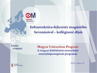 Infrastruktúra-fejlesztés magántőke bevonásával - kollégiumi díjak