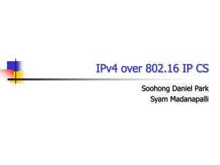 IPv4 over 802.16 IP CS
