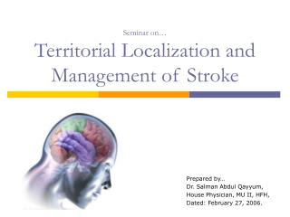Seminar on� Territorial Localization and Management of Stroke