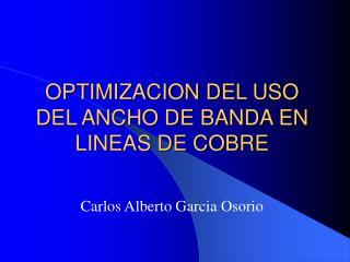 OPTIMIZACION DEL USO DEL ANCHO DE BANDA EN LINEAS DE COBRE