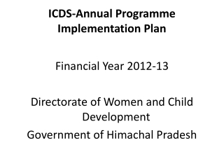 ICDS  Inter-Sectoral Convergence