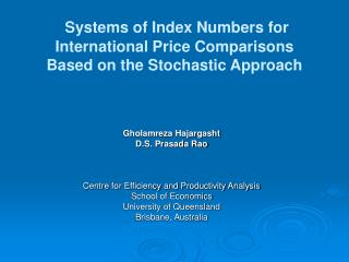 Systems of Index Numbers for International Price Comparisons Based on the Stochastic Approach