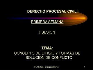DERECHO PROCESAL CIVIL I PRIMERA SEMANA I  SESION TEMA :