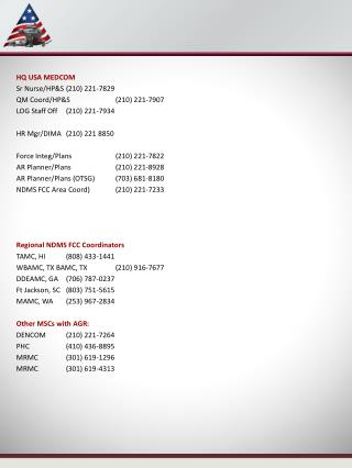 HQ USA MEDCOM Sr Nurse/HP&S (210) 221-7829 QM Coord/HP&S (210) 221-7907