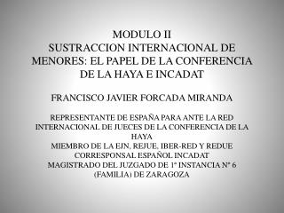 MODULO II SUSTRACCION INTERNACIONAL DE MENORES: EL PAPEL DE LA CONFERENCIA DE LA HAYA E INCADAT