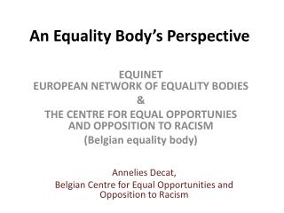 An Equality Body's Perspective