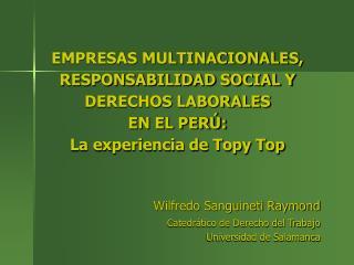 Wilfredo Sanguineti Raymond Catedrático de Derecho del Trabajo Universidad de Salamanca