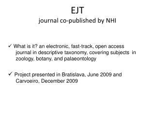 EJT journal co-published by NHI