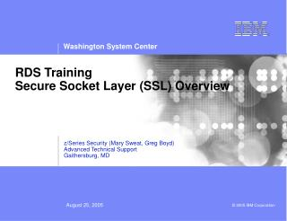 RDS Training Secure Socket Layer (SSL) Overview