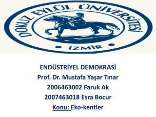 ENDÜSTRİYEL DEMOKRASİ Prof. Dr. Mustafa Yaşar Tınar 2006463002 Faruk Ak 2007463018 Esra Bocur