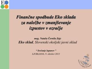Finančne spodbude  Eko  sklada za naložbe v zmanjševanje  izpustov v ozračje