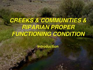 CREEKS  COMMUNITIES  RIPARIAN PROPER FUNCTIONING CONDITION  Introduction